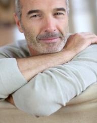 Closeup of relaxed and serene senior man
