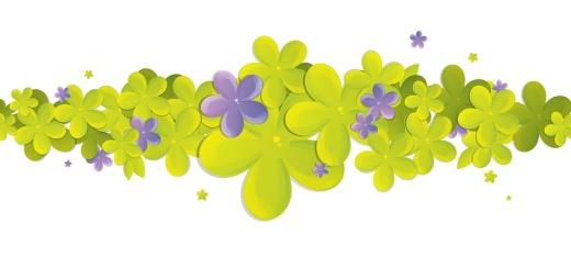 spring print with green and purple flowers